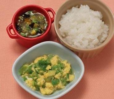 レタスの卵とじ・カラフルスープ・おかゆ