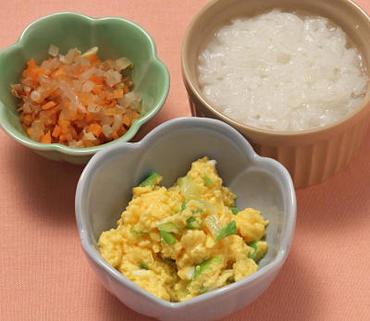 白菜の卵とじ・二色あえ・おかゆ