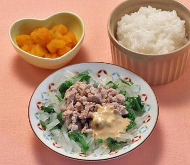 温豚サラダ・かぼちゃの煮もの・おかゆ