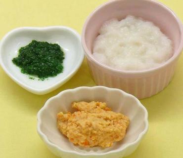 鶏肉と人参のやわらか煮・きざみ青菜・おかゆ