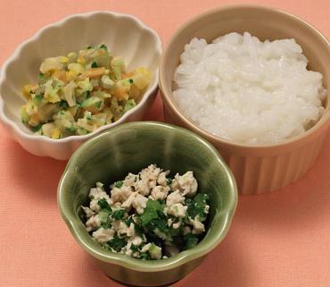 鶏肉と青菜のやわらか煮・マカロニサラダ・おかゆ