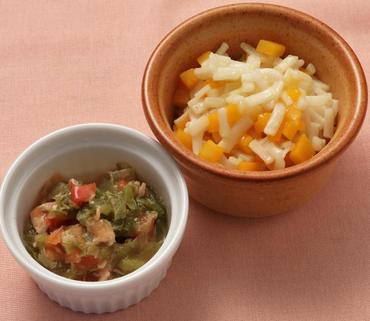 かぼちゃうどん・トマトとレタスのツナ煮