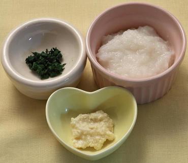 つぶし豆腐・きざみチンゲン菜・おかゆ