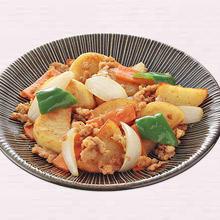 ひき肉とじゃが芋の和風カレー炒め