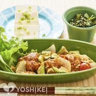 夏野菜の鶏唐マヨぽん