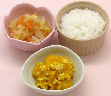鶏肉とかぼちゃのマッシュ・野菜のやわらか煮・おかゆ