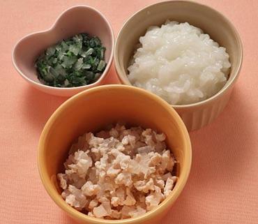鶏肉と大根のやわらか煮・青菜と玉葱のおひたし・おかゆ