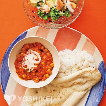 チャナマサラ(ひよこ豆のカレー)とナン