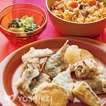 いわしと秋野菜の天ぷら