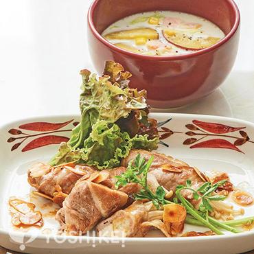 豚肉のきのこロール ~アーモンドバターソース~