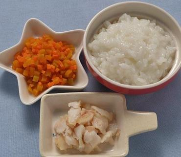 白身魚ソテー・かぼちゃと人参のやわらか煮・おかゆ