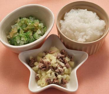 牛肉ポテト・レタスと玉葱のやわらか煮・おかゆ