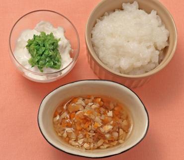 お豆と根菜の煮もの・キャベツのヨーグルトサラダ・おかゆ