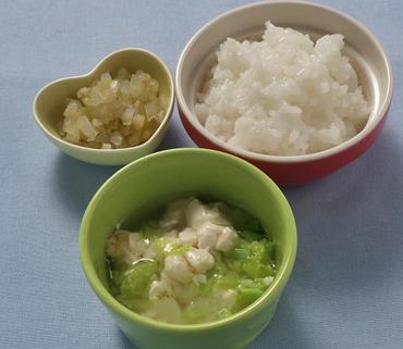 豆腐の白菜あん・なすと玉葱のやわらか煮・おかゆ