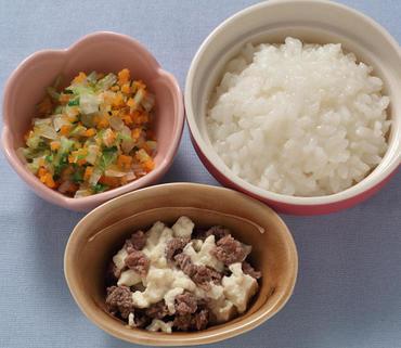 牛肉豆腐・野菜のやわらか煮・おかゆ