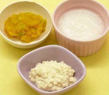 つぶし豆腐・かぼちゃと玉葱のやわらか煮・おかゆ