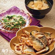 さんま竜田と根菜のべっこうあん