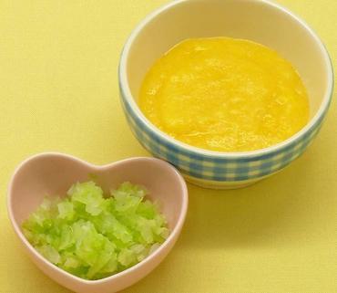 卵がゆ・白菜と玉葱の煮びたし