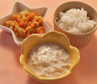 切干大根のヨーグルトあえ・さつま芋と人参のやわらか煮・おかゆ