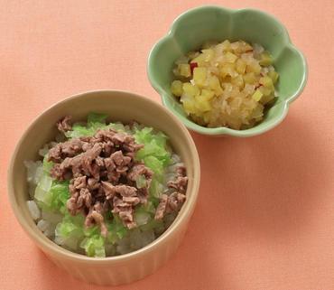 牛肉ごはん・さつま芋と玉葱の煮もの
