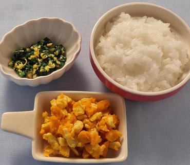 鶏肉とかぼちゃのマッシュ・青菜のコーン煮・おかゆ