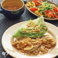 白身魚とレタスの葱じょうゆ