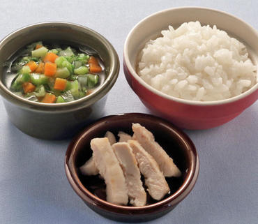 スティックチキン・野菜スープ・おかゆ
