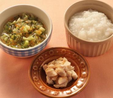 ころころチキン・野菜スープ・おかゆ