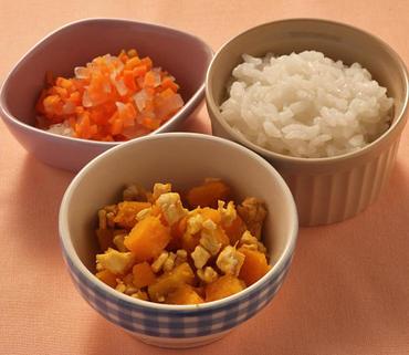 鶏かぼちゃ・玉葱と人参のやわらか煮・おかゆ