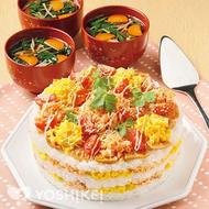 サーモンの彩りすしケーキ