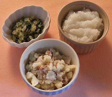 牛肉ポテト・ほうれん草と玉葱のやわらか煮・おかゆ