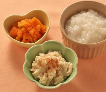 くずし豆腐・かぼちゃと人参の煮もの・おかゆ