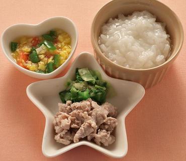 豚しゃぶサラダ・カラフル野菜のやわらか煮・おかゆ