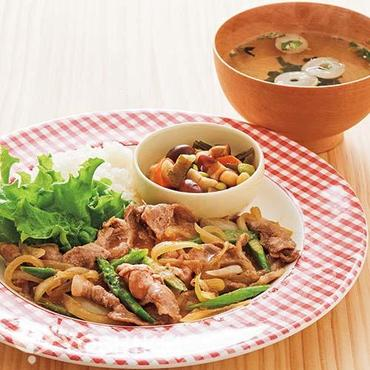 豚肉とアスパラの生姜焼きプレート
