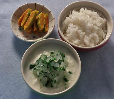 2色野菜のヨーグルトサラダ・焼きかぼちゃ・おかゆ
