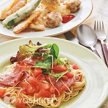 スモークタンとトマトの冷製パスタ