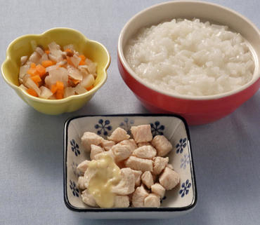 蒸し鶏・きのこと野菜のやわらか煮・おかゆ