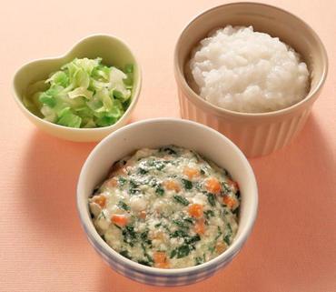 くずし豆腐と野菜のとろみ煮・やわらかキャベツ・おかゆ