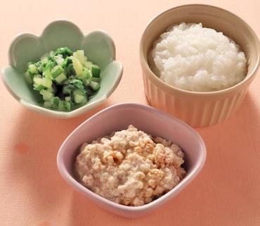 そぼろ豆腐・サニーレタスと胡瓜のやわらか煮・おかゆ