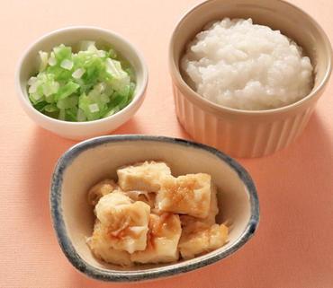 豆腐ステーキ・キャベツともやしの煮もの・おかゆ