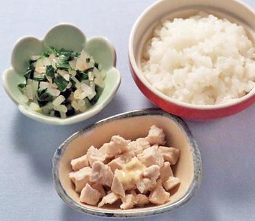 蒸し鶏・青菜ともやしの煮もの・おかゆ