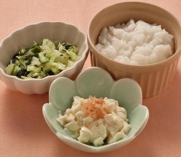 おかか豆腐・キャベツの磯煮・おかゆ