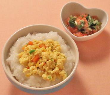 カラフル野菜の卵とじ丼・水菜のトマト煮