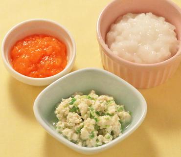 レタスと豆腐のやわらかあえ・人参の煮つぶし・おかゆ