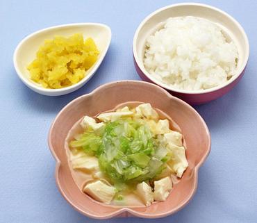 豆腐の白菜あん・やわらかおさつ・おかゆ