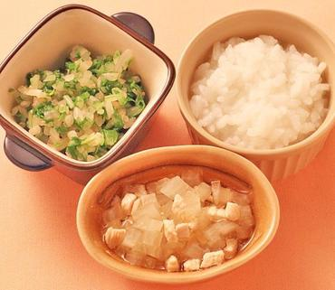 鶏肉と大根の煮もの・水菜ともやしのやわらかあえ・おかゆ