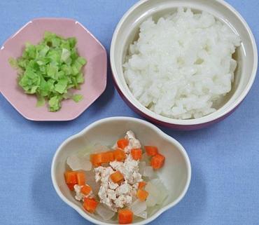 野菜のそぼろ煮・やわらかキャベツ・おかゆ