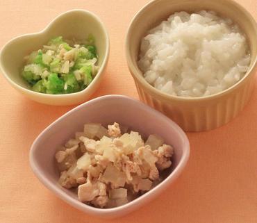 豚肉と大根の煮もの・えのきと白菜のやわらかあえ・おかゆ