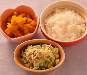 豚肉と白菜のレンジ蒸し・かぼちゃのやわらか煮・おかゆ
