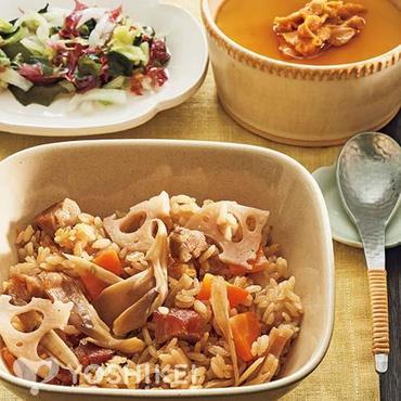 焼豚と根菜の炊き込みごはん